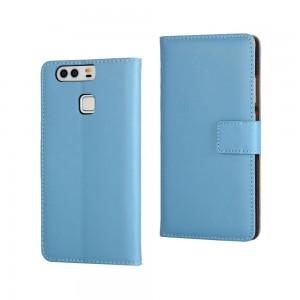 Huawei P9 - skórzane etui na telefon i dokumenty - niebieskie