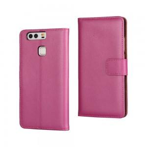 Huawei P9 - skórzane etui na telefon i dokumenty - różowe