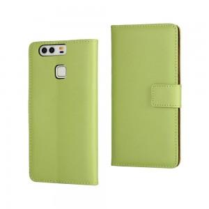 Huawei P9 - skórzane etui na telefon i dokumenty - zielone V