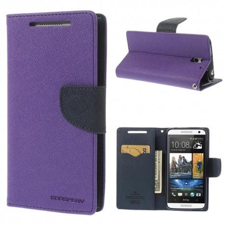 HTC Desire 610 - etui na telefon i dokumenty - Fancy purpurowe