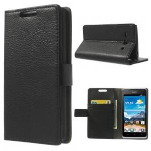 Huawei Ascend Y530 - etui na telefon i dokumenty - Litchi czarne