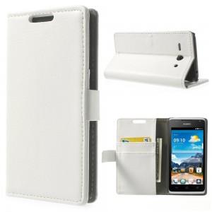Huawei Ascend Y530 - etui na telefon i dokumenty - Litchi białe