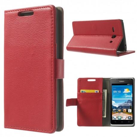 Huawei Ascend Y530 - etui na telefon i dokumenty - Litchi czerwone