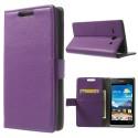Huawei Ascend Y530 Portfel Etui – Litchi Purpurowy