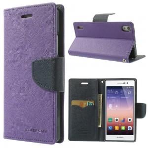Huawei Ascend P7 - etui na telefon i dokumenty - Fancy purpurowe