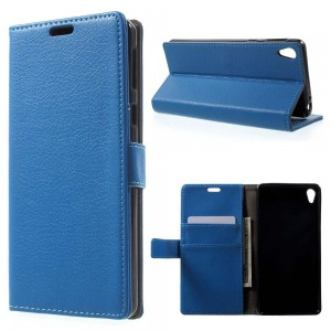 Sony Xperia E5 - etui na telefon i dokumenty - Litchi Niebiskie