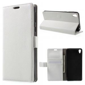 Sony Xperia E5 - etui na telefon i dokumenty - Litchi Białe