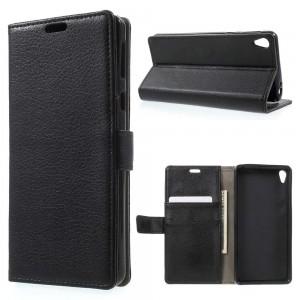 Sony Xperia E5 - etui na telefon i dokumenty - Litchi Czarne