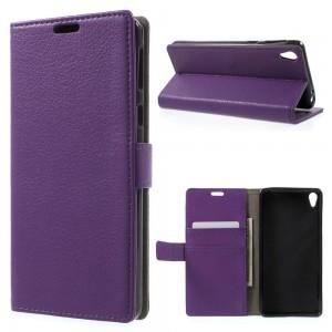 Sony Xperia E5 - etui na telefon i dokumenty - Litchi Purpurowe