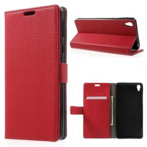 Sony Xperia E5 - etui na telefon i dokumenty - Litchi Czerwone