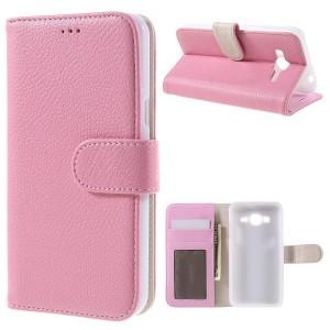 Samsung Galaxy J3 (2016) SM-J320F - etui na telefon i dokumenty - Różowe