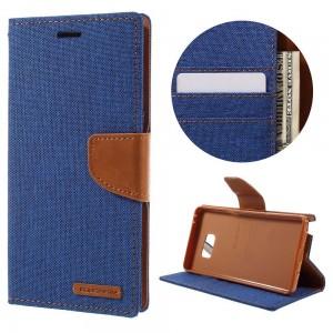 Samsung Galaxy Note 7 - etui na telefon i dokumenty - Canvas Niebieskie
