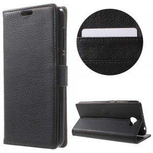 Huawei Y6 II Compact - etui na telefon i dokumenty - Litchi Czarne