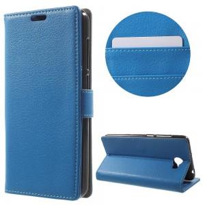 Huawei Y6 II Compact - etui na telefon i dokumenty - Litchi Niebieskie