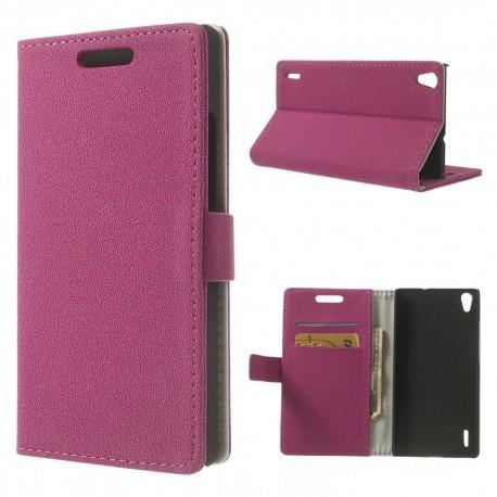 Huawei Ascend P7 - etui na telefon i dokumenty - GG różowe