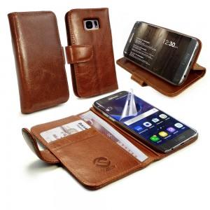 Samsung Galaxy S7 Edge - etui na telefon i dokumenty - Tuff-Luv skórzane brązowe