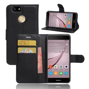 Huawei Nova - etui na telefon i dokumenty - Litchi Czarne