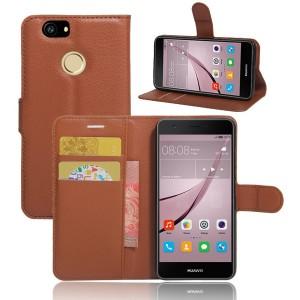 Huawei Nova - etui na telefon i dokumenty - Litchi Brązowe