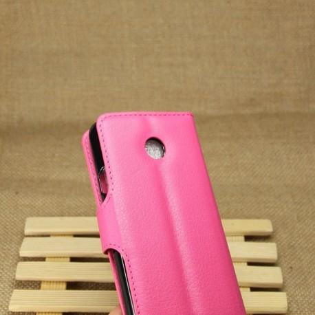 Huawei Ascend Y330 - etui na telefon i dokumenty - Litchi różowe