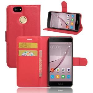 Huawei Nova - etui na telefon i dokumenty - Litchi Czerwone