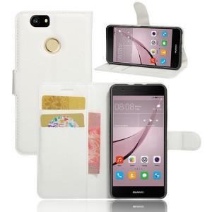 Huawei Nova - etui na telefon i dokumenty - Litchi Białe