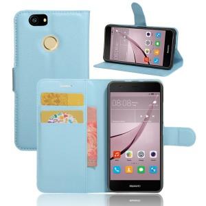 Huawei Nova - etui na telefon i dokumenty - Litchi Niebieskie