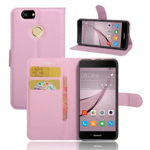 Huawei Nova - etui na telefon i dokumenty - Litchi Jasnoróżówe