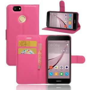 Huawei Nova - etui na telefon i dokumenty - Litchi Różowe