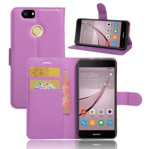Huawei Nova - etui na telefon i dokumenty - Litchi Purpurowe