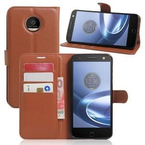 Motorola Moto Z Play - etui na telefon i dokumenty - Brązowe