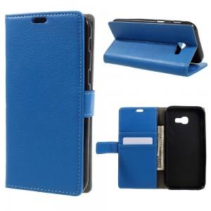 Samsung Galaxy A3 (2017) - etui na telefon i dokumenty - Litchi niebieskie