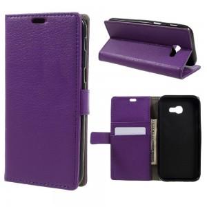 Samsung Galaxy A3 (2017) - etui na telefon i dokumenty - Litchi purpurowe