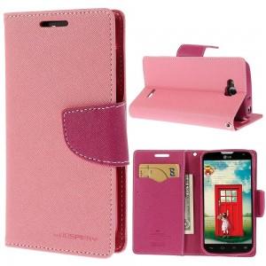 LG L90 - etui na telefon i dokumenty - Fancy różowe