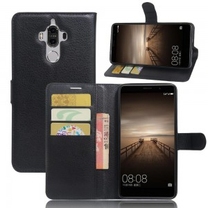 Huawei Mate 9 - etui na telefon i dokumenty - Litchi czarne