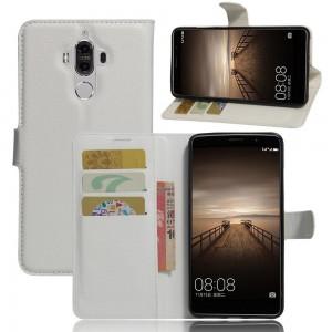 Huawei Mate 9 - etui na telefon i dokumenty - Litchi białe