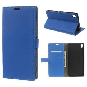 Sony Xperia XA Ultra - etui na telefon i dokumenty - Litchi niebieskie