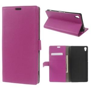 Sony Xperia XA Ultra - etui na telefon i dokumenty - Litchi różowe