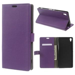 Sony Xperia XA Ultra - etui na telefon i dokumenty - Litchi purpurowe