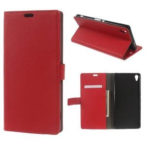 Sony Xperia XA Ultra - etui na telefon i dokumenty - Litchi czerwone