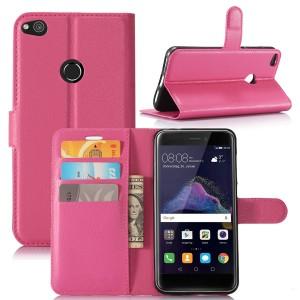 Huawei Honor 8 Lite - etui na telefon i dokumenty - Ciemnoróżowe