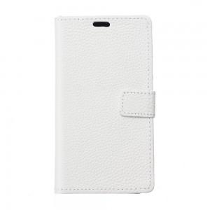 LG K10 (2017) - skórzane etui na telefon i dokumenty - Białe