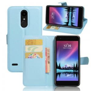 LG K10 (2017) - etui na telefon i dokumenty - Litchi Niebieskie