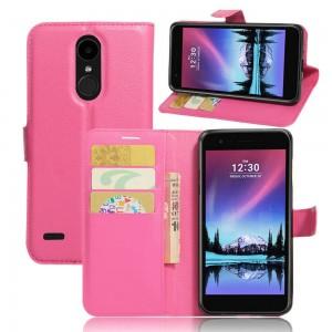 LG K10 (2017) - etui na telefon i dokumenty - Litchi Różowe