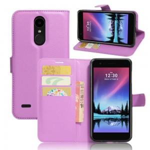 LG K10 (2017) - etui na telefon i dokumenty - Litchi Purpurowe