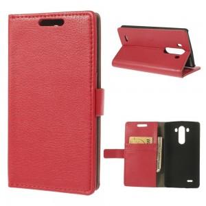LG G3 - etui na telefon i dokumenty - Litchi czerwone