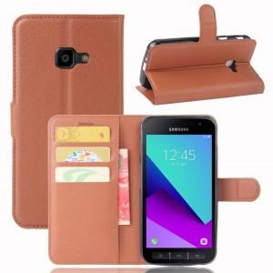 Samsung Galaxy Xcover 4 - etui na telefon i dokumenty - Brązowe