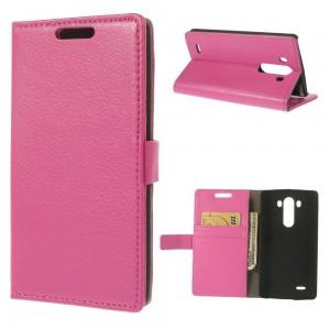LG G3 - etui na telefon i dokumenty - Litchi różowe