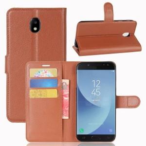 Samsung Galaxy J5 (2017) - etui na telefon i dokumenty - Litchi Brązowe