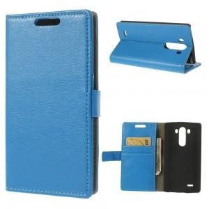 LG G3 - etui na telefon i dokumenty - Litchi niebieskie