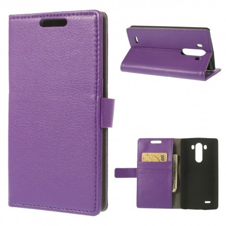LG G3 - etui na telefon i dokumenty - Litchi purpurowe
